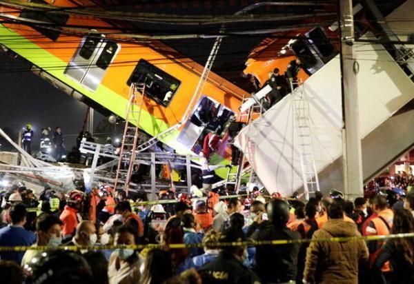 13 کشته و ده ها مصدوم در حادثه ریزش پلِ قطارِ مترو در مکزیک